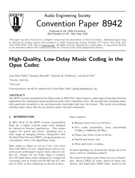 couche paper definition aes e library 187 high quality low delay music coding in