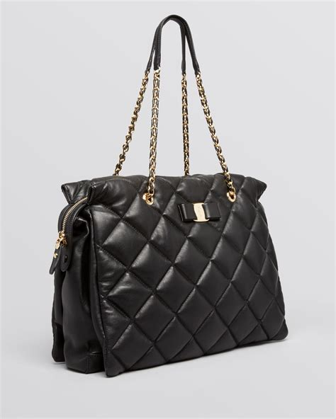 Salvatore Ferragamo Sella Quilted Tote by Ferragamo Tote Ginette Large Quilted In Black Lyst