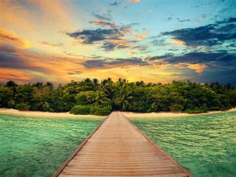 wallpaper island ocean dock  nature