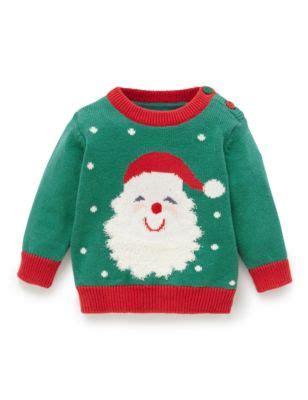 pure cotton santa print christmas jumper | m&s