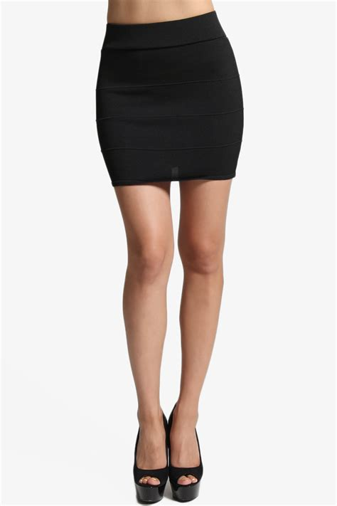 themogan bandage knit bodycon pencil mini skirt in black