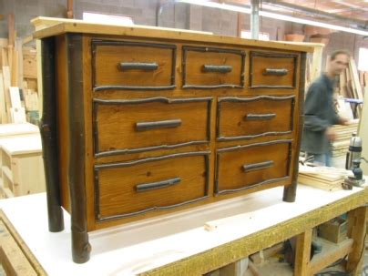 Pioneer Handcraft Furniture - bark style dresser and table