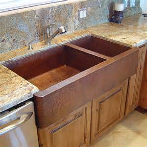 Premier copper 75 25 double bowl apron copper sink van dyke s