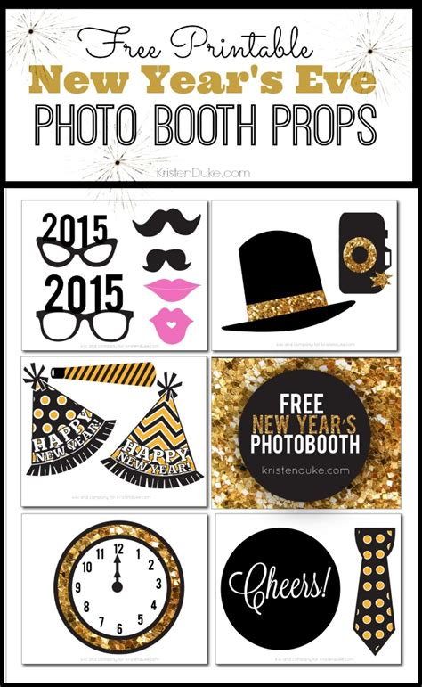 new year printable pictures new years photo booth props printable photo booth