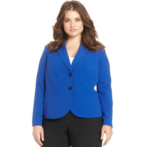 Two Botton Big Size Plus Size Calvin Klein Plus Size Two Button Blazer In Blue Lyst