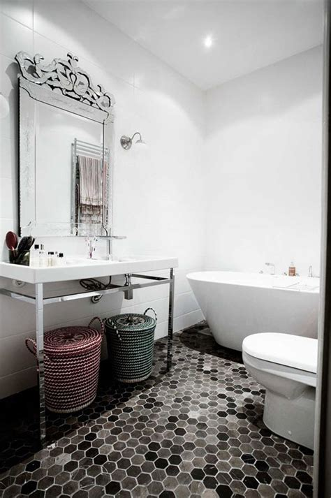 black and white bathroom floor tile hexagon 37 black and white hexagon bathroom floor tile ideas and