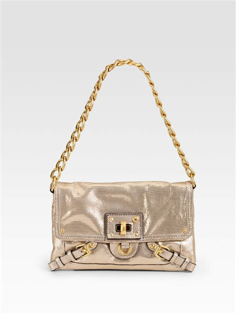 Couture Leather Shoulder Bag by Couture Metallic Leather Mini Shoulder Bag In Gold