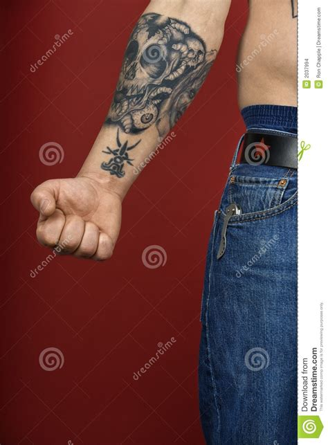 tattoo on middle of arm adult male arm with tattoo stock photo image of