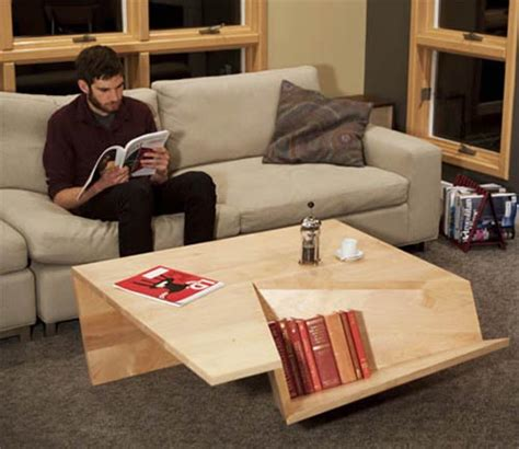 modern and minimalist coffee table with book storage