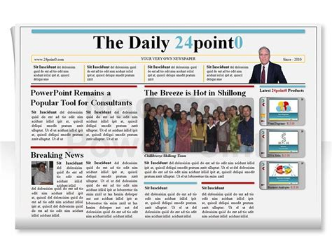 Presentation And Layout Of Web Newspaper | editable powerpoint newspapers template