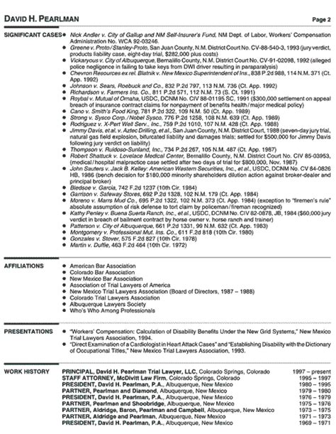 sle resume for lawyer personal injury attorney resume sles