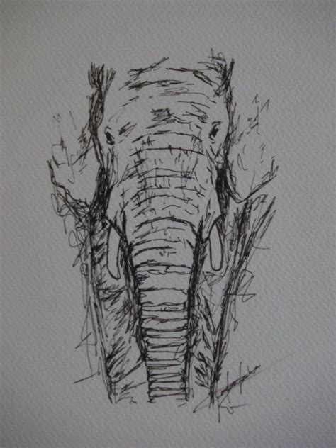 Sketches In Pen by Elephant Elephant Pen Drawing Print Animal Drawing