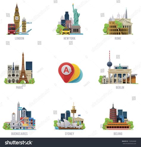 china house rome ny vector global travel destinations icon set stock vector 132964688 shutterstock