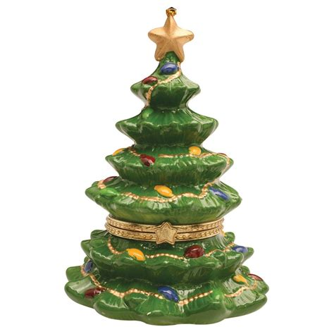 porcelain christmas tree hinged ornament box christmas