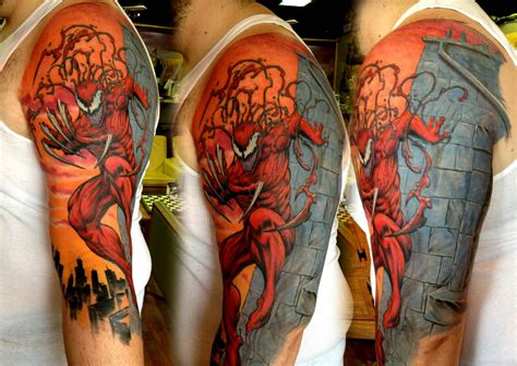 comic book tattoo carnage by tony siemer of totem gallery in xenia