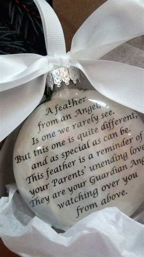 memory  parents memorial christmas ornament feather   angel mom dad  heaven