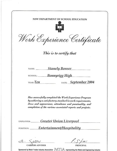Work Experience Certificate In Work Experience Certificate Greater Union