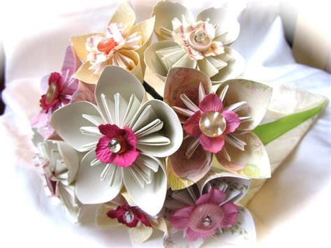 Origami Flower Wedding Bouquet - pink origami flower bridal bouquet