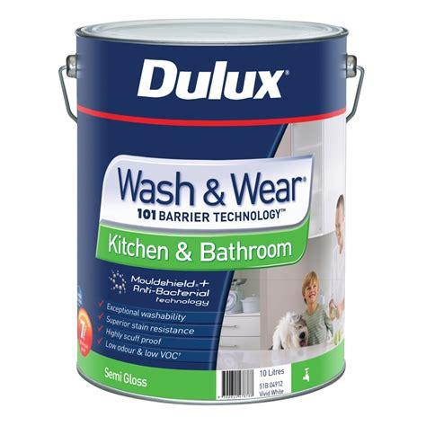 semi gloss in bathroom dulux wash wear kitchen bathroom 10l semi gloss white