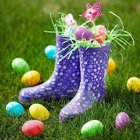 diy creative outdoor decoration painted boots easter eggs