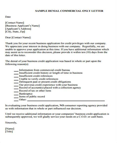 Decline Approval Letter loan rejection letters 7 free sle exle format free premium templates
