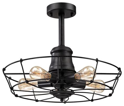 Glendora 5 Light Semi Flush In Wrought Iron Black Black Iron Ceiling Lights