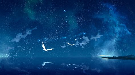 wallpaper anime night night of universe full hd wallpaper and background image