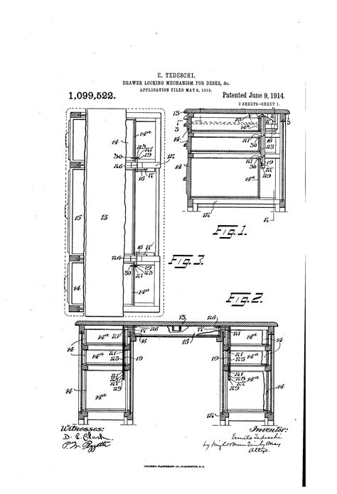 locking mechanism for chest of drawers patent us1099522 drawer locking mechanism for desks c