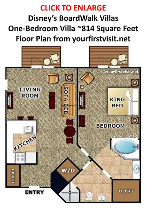 Disney World Boardwalk Villas Floor Plan | disney s boardwalk villas one bedroom villa floor plan