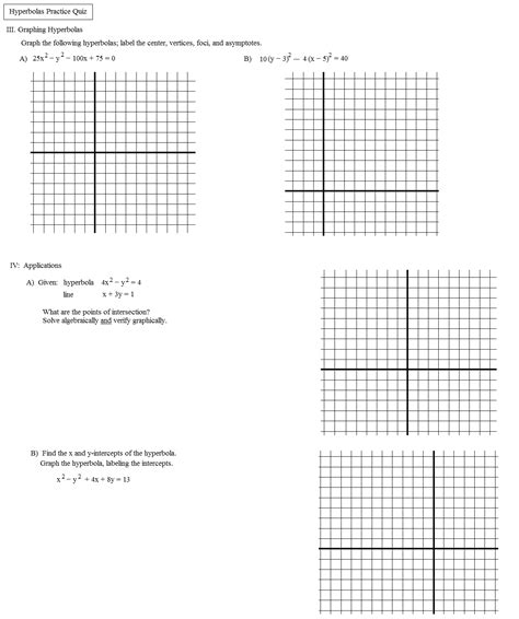 Algebra 2 Conic Sections Test by Math Plane Conics Ii Hyperbolas And Parabolas