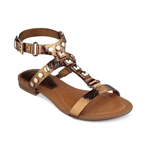 studded flat sandals marc fisher bane studded flat sandals in gold brown lyst