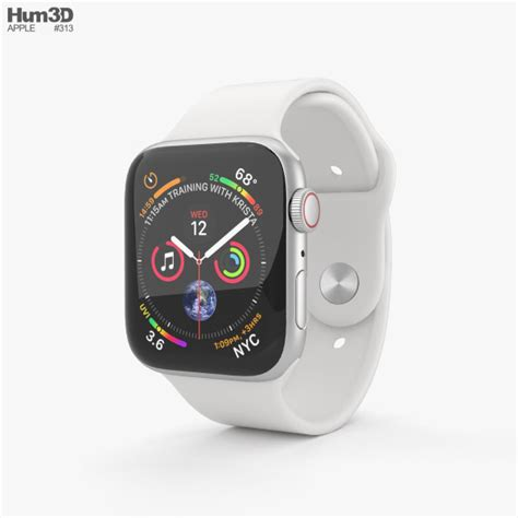 apple series 4 44mm silver aluminum with white sport band 3d model electronics on hum3d