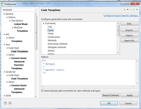 eclipse how to add new template to existing java class