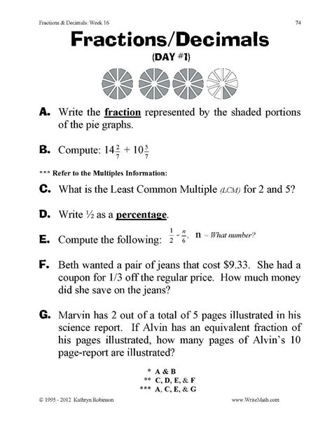 Converting Fractions To Decimals Worksheet Pdf by Fractions Decimals And Percents Worksheets 7th Grade Pdf Decimal Fractions And Quizes On