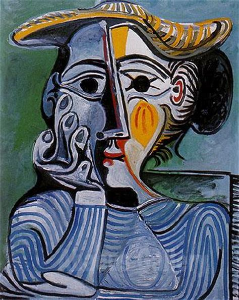picasso paintings of jacqueline pablo picasso bust of a in a yellow hat 1962