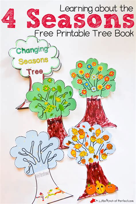 living the seasons of fall and winter books learning about the 4 seasons free printable tree book