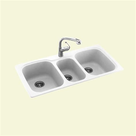 three bowl kitchen sink swanstone kstb 4422 0 dropin bowl basin kitchen sink at atg stores
