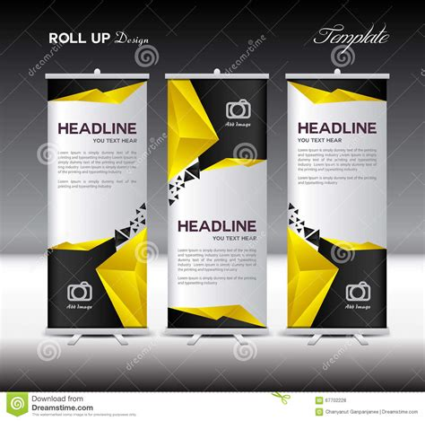 Yellow And Black Roll Up Banner Template Vector Illustration Pol Stock Vector Image 67702228 Roll Up Banner Design Template Free