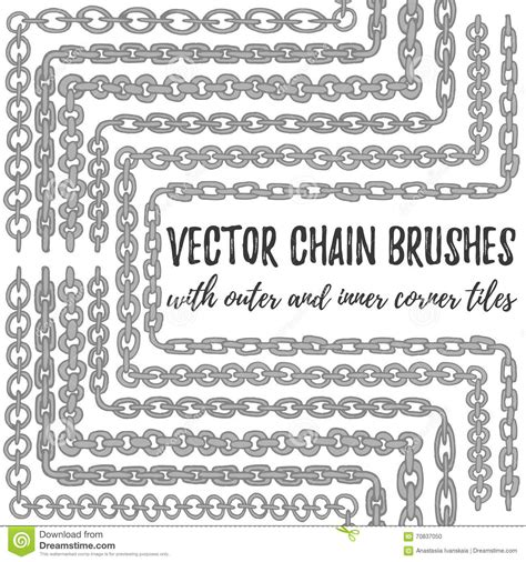 brush easy pattern vector set of 6 hand drawn silver chain brushes stock