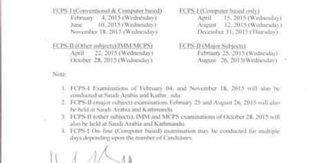 Fcps Calendar 2015 Cpsp Examination Schedule Calendar 2015 Medicalkidunya
