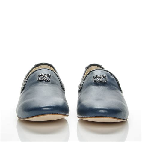 chanel loafers chanel lambskin cc loafers 36 5 navy 193309
