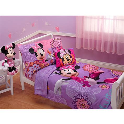 minnie mouse toddler bed set disney minnie mouse fluttery friends 4pc toddler bedding