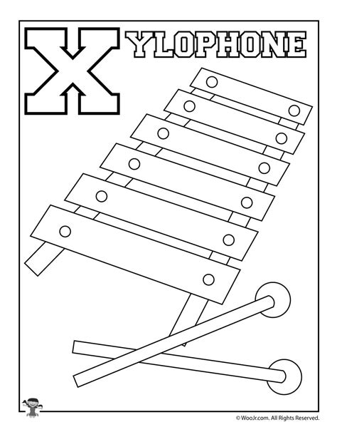 whole alphabet coloring page x is for xylophone woo jr kids activities