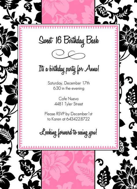 normal invitation card template black white and pink sweet 16 birthday invitation