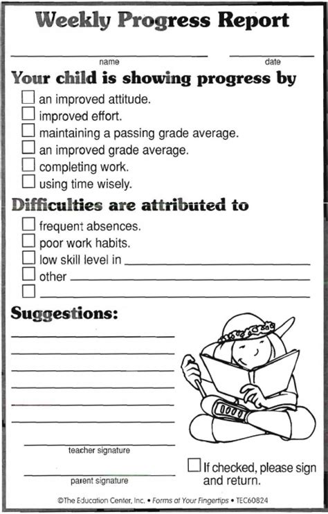 preschool weekly report template weekly progress report forms free printable worksheets