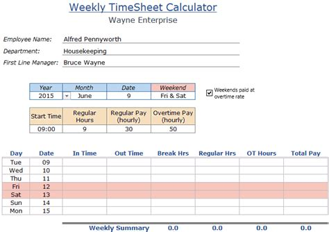 excel timesheet with lunch breaks easy