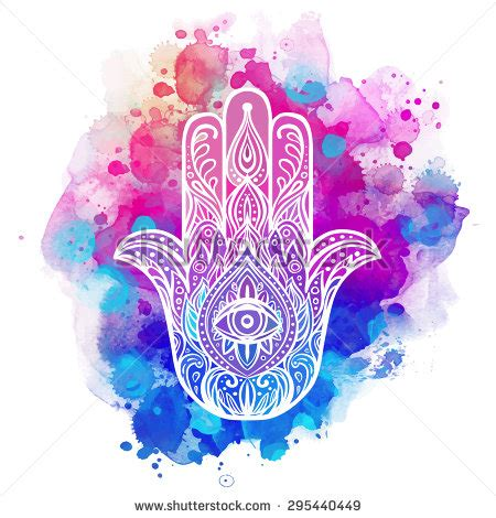 ornate hand drawn hamsa popular arabic stock vector