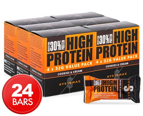 1 protein bar a day 24 x systemax high protein bars cookies 32g ebay