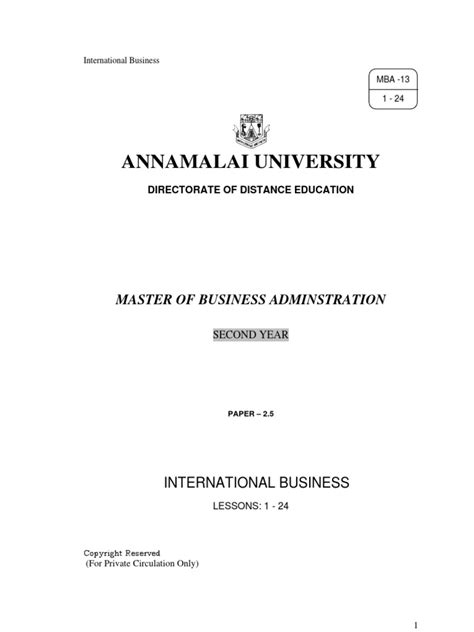 Annamalai Mba Payment by 2 5 International Business