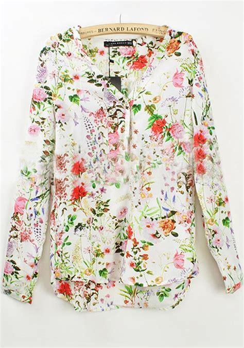 Floral V Neck Chiffon Blouse multicolor floral v neck sleeve chiffon blouse